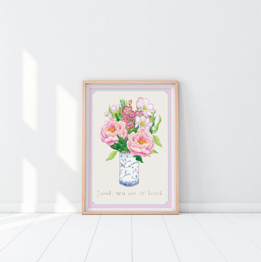 Personalised Peony & Cosmos Bouquet Watercolour Print