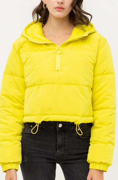 Yellow Padded, Boxy Jacket with Hood