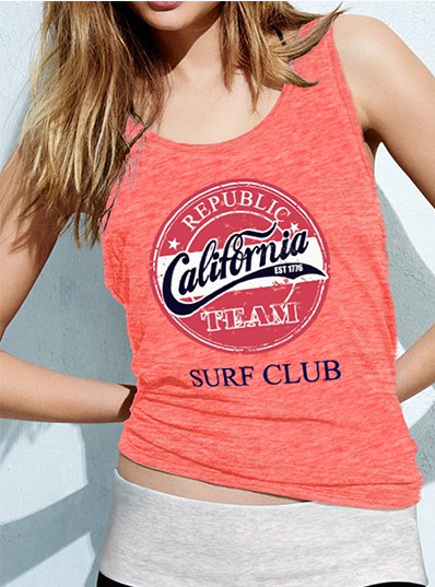 California Republic Print Racerback Scoop Neck Tank