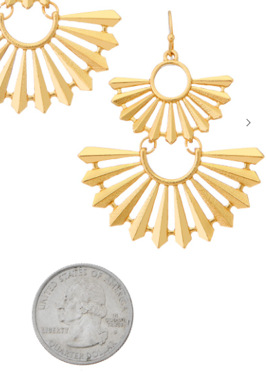 Gold Tiered Fan Drop Earrings