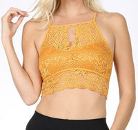 Keyhole High-Neck Stretch Lace Bralette