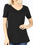 Black V-Neck Short Sleeve T-Shirt