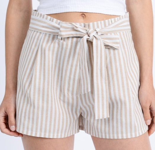 Taupe High Waisted Striped Shorts