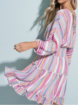 Multi Stripe Tiered Dress