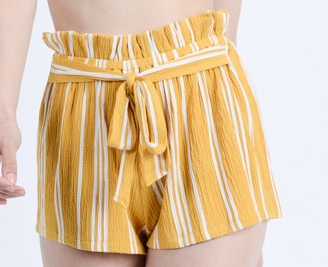 Mustard Striped Shorts