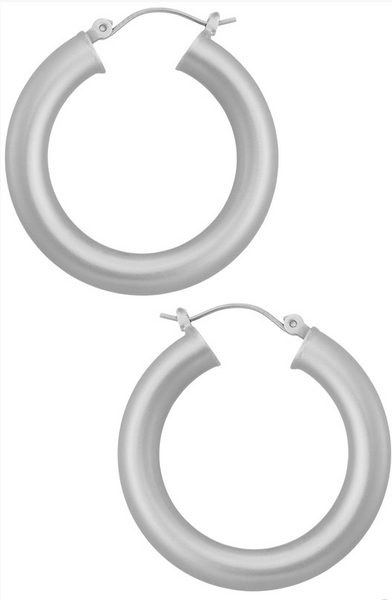 Matte Silver Round Hoop Earrings