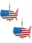Wooden United States Map Earring with Flag Print