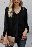 Black Loose Fit V-neck