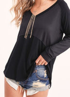 Black Vneck Contrast Top