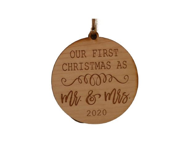 Mr and Mrs Wood Ornament Current Year