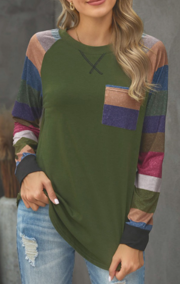 Green Striped Sleeve Casual Tunic