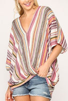 Striped Surplice Neck Dolman Sleeve Top