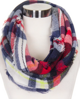 Navy Plaid Infinity Scarf