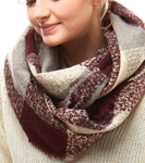 Burgundy Plaid Boucle Infinity Scarf