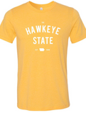 Yellow Hawkeye State Graphic Tee