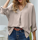 Beige Loose Fit V-neck