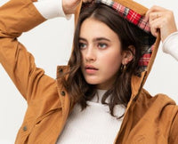Flannel Plaid Hoodie Utility Cotton Anorak Jacket