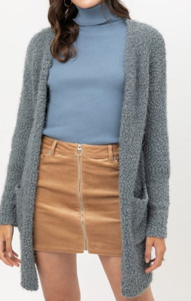 Popcorn Eyelash Open Front Long Line Cardigan in Blue