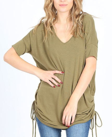 Olive Short Sleeve V-Neck With Ruched Side