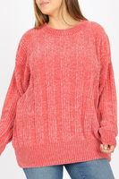Rose Round Neck Chenille Sweater