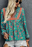 Green Floral Lantern Sleeve Blouse