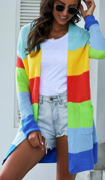 Blue Color Block Open Front Drape Knitted Cardigan