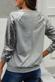 Gray Sequin Sleeve Pullover