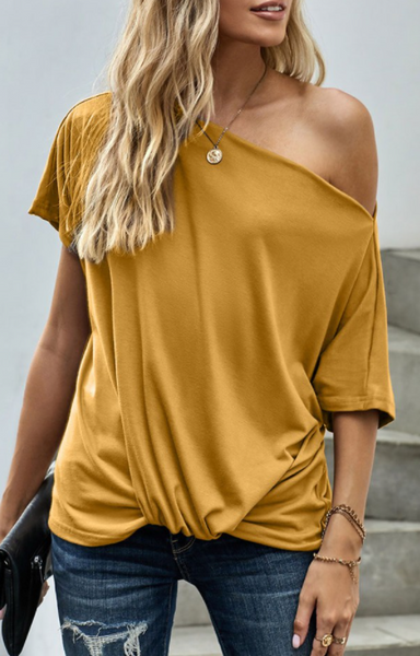 Off Shoulder Slash Neck Casual Loose Fitting Top