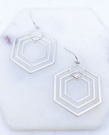 Worn Silver Hexagon Earrings