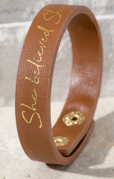 "Brown ""She Believed She Could"" Snap Bracelet"