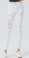 White High Rise Double Button Distressed Skinnies