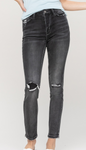 High Rise Black Patched Vervet Skinnies