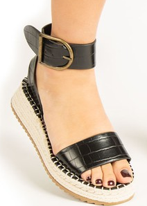 Fabio Black Wedge Sandals