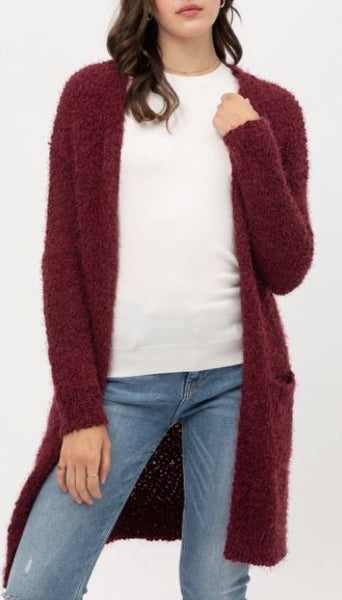 Popcorn Eyelash Open Front Long Line Cardigan in Wine
