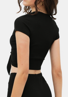 Black Front Tie Scooped Neck Top
