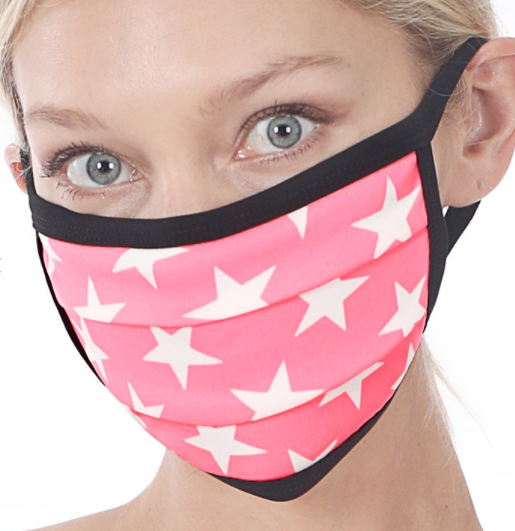 Bright Pink Star Cotton Mask