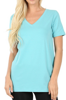Ash Mint V-Neck Short Sleeve T-Shirt