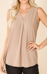 Ash Mocha Woven Airflow V-Neck Sleeveless Top