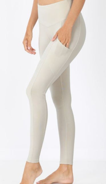 Taupe Full Length Leggings With Pockets