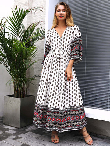 Neckline Geo Print Dress