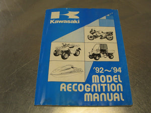 1992 1994 Kawasaki OEM Model Recognition Manual 92 94 Part #99930-1006-01