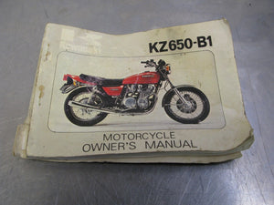 1977 Genuine Kawasaki KZ650-B1 Owner's Manual OEM P/N 99932-007-03 77