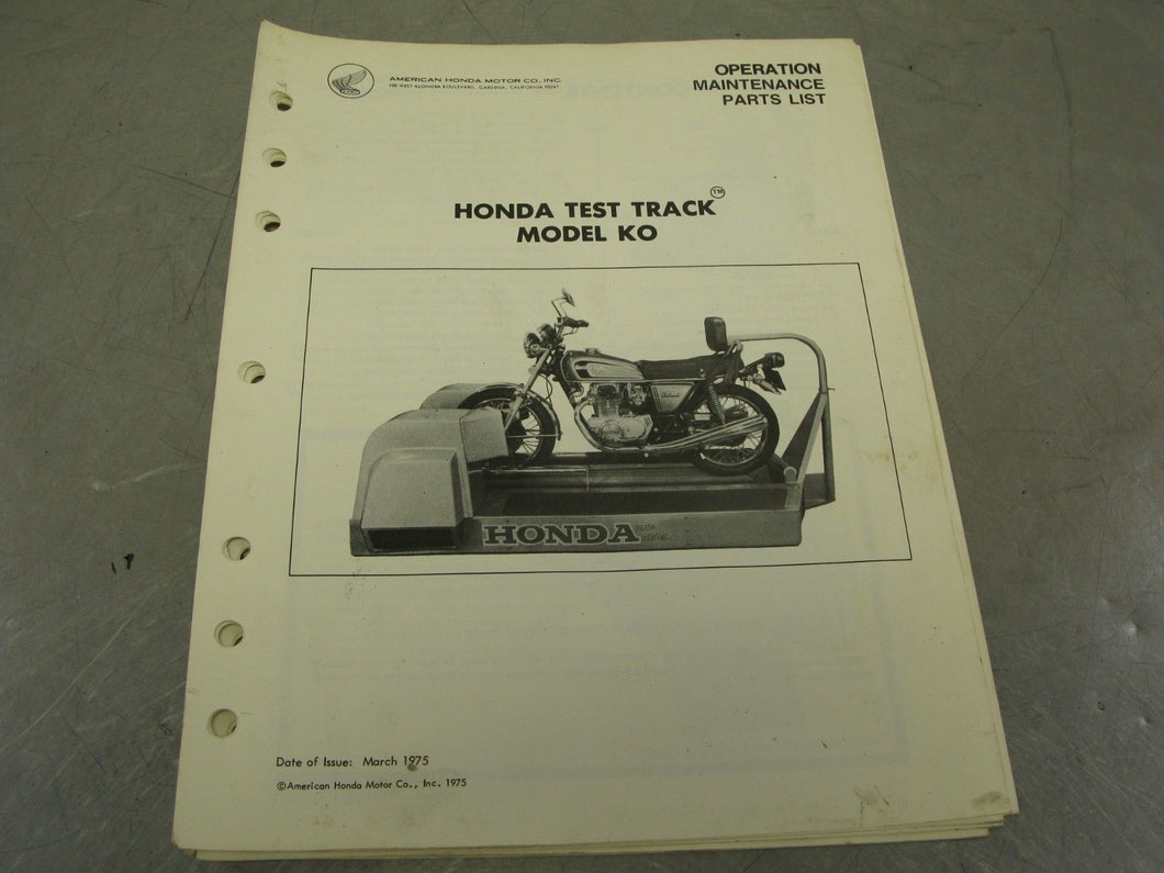 Honda Test Track Model KO Operation Manual Maintenance Guide Parts List Diagram