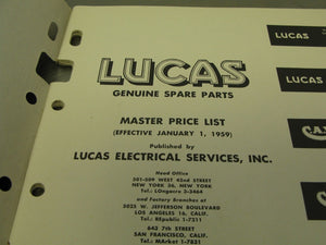 Lucas Motorcycle Master Price Books 1959 Triumph Norton BSA Matchless