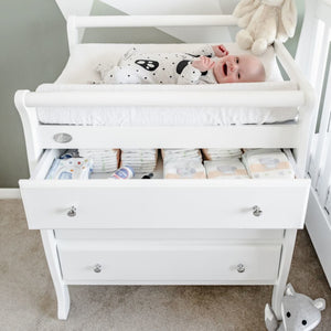 3 Drawer Change Table with Change Mat and Baby