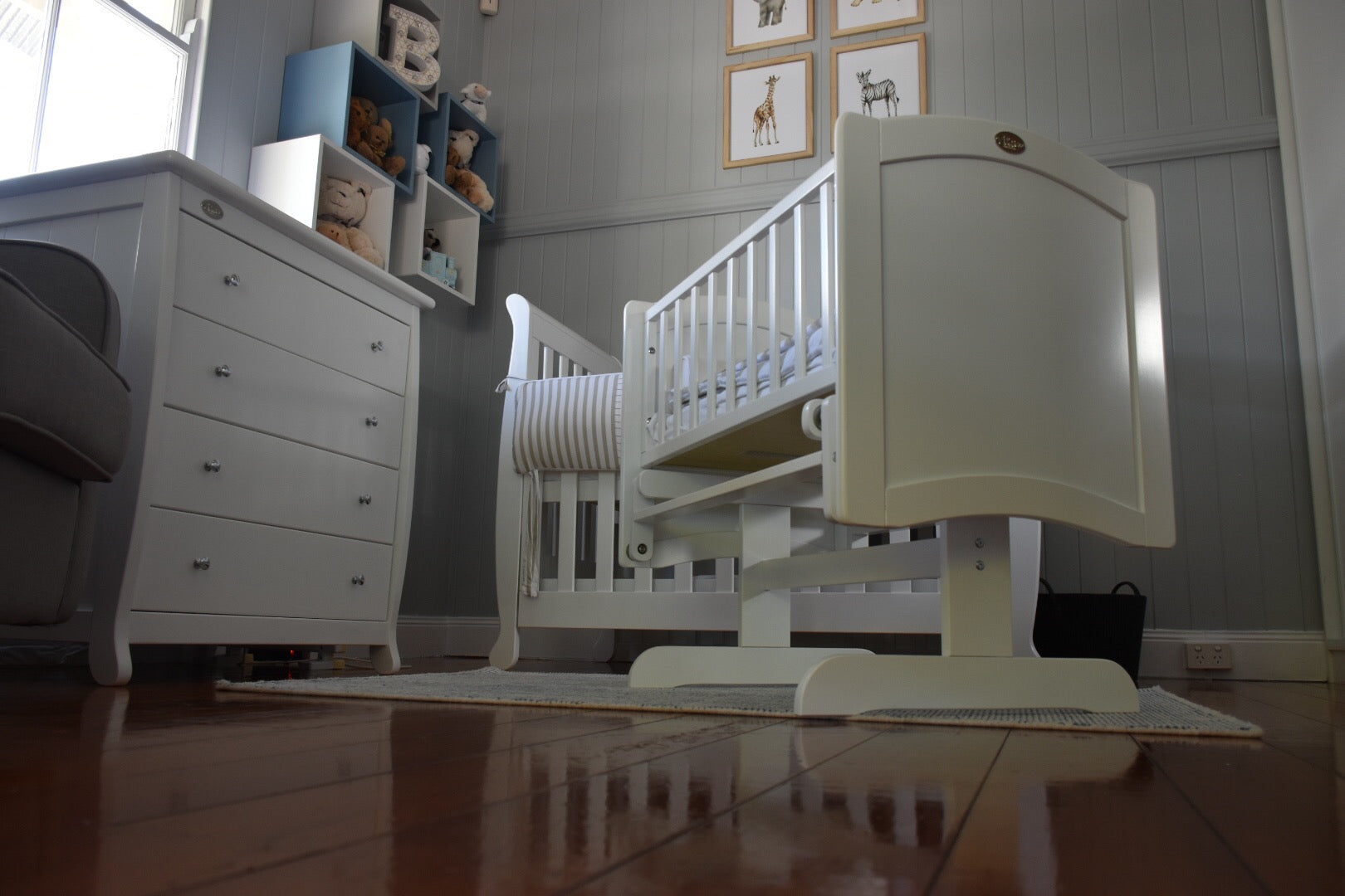 Rocking Cradle with Mattress in Nursery