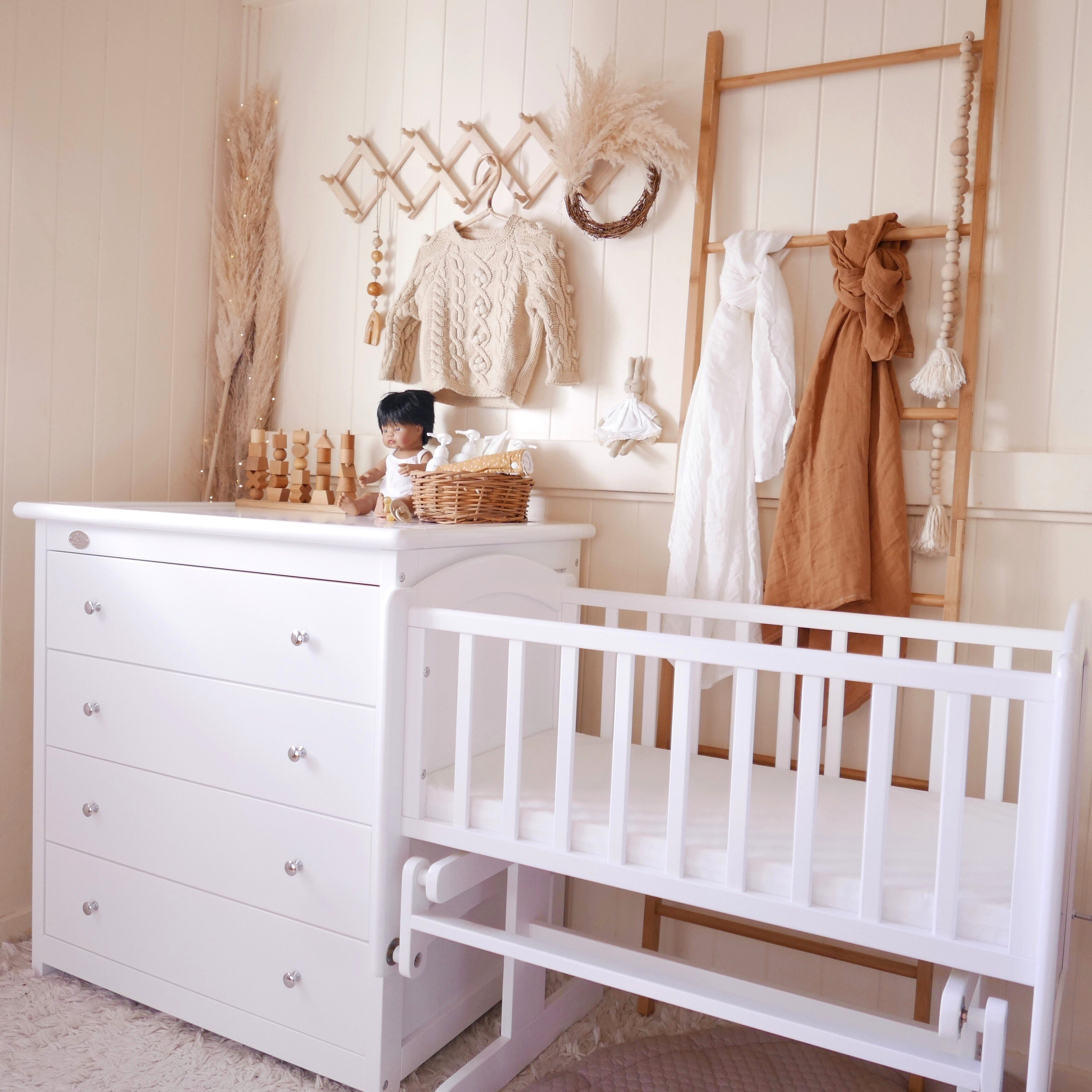 Chest of Drawers and Rocking Cradle with Cradle Mattress Styled