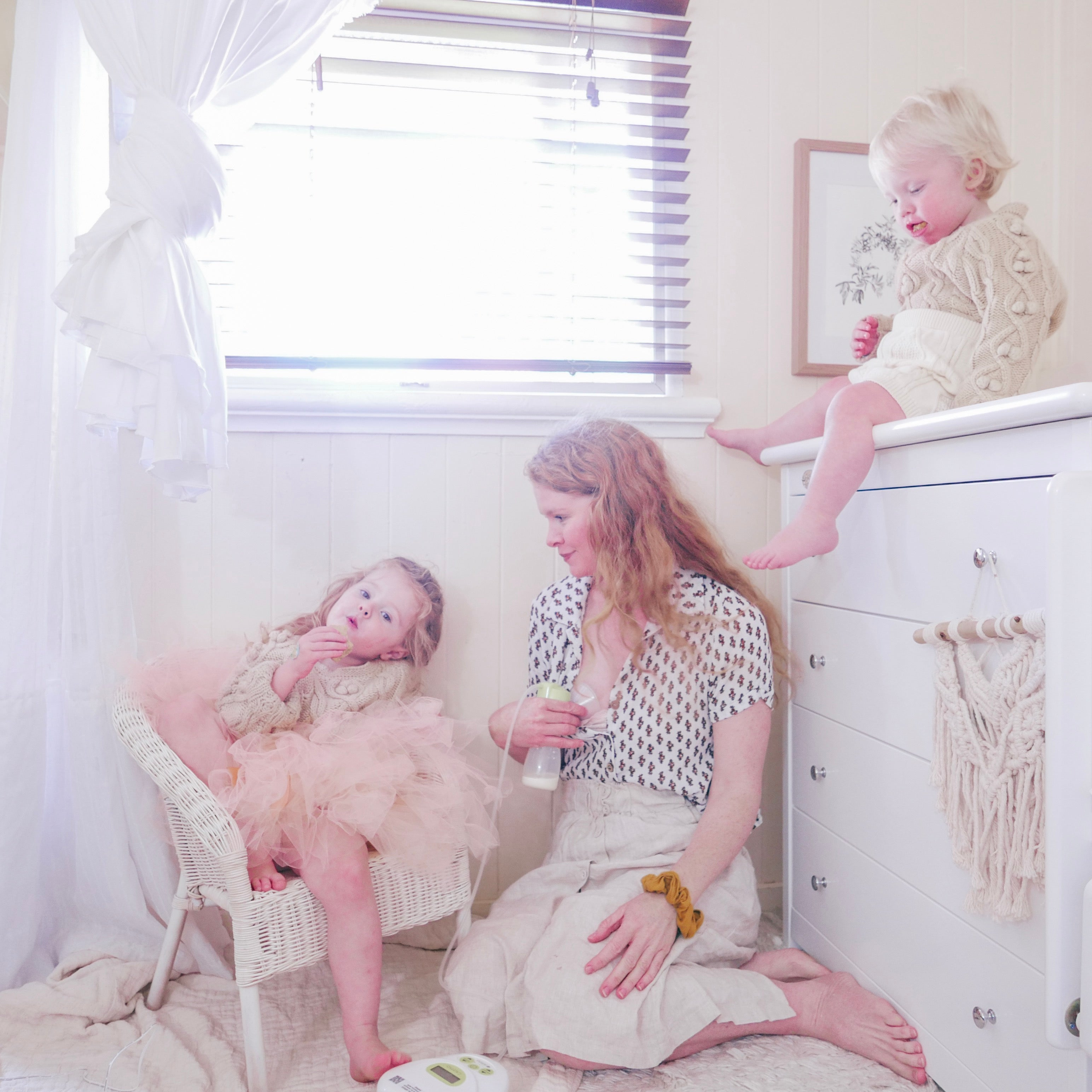 Mum and Toddlers with Chest of Drawers