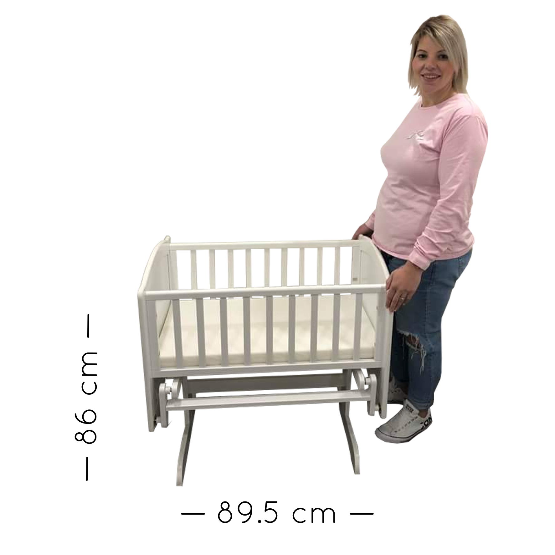 Rocking Cradle with Mattress. With Dimensions.