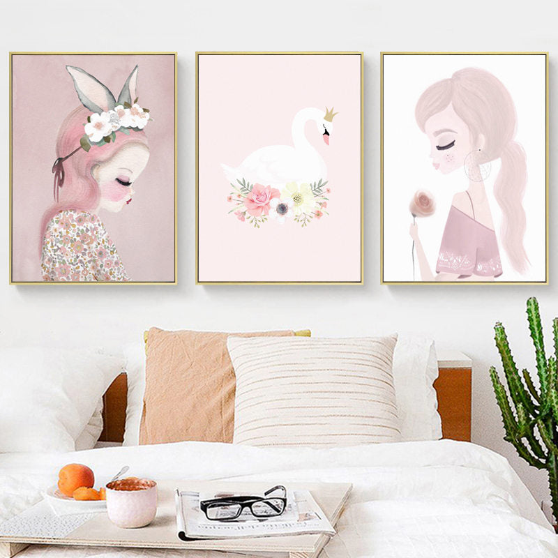 Girl's Pink Watercolour Prints